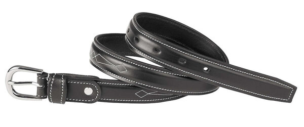 Leather belt, quality leather with silver coloured buckle