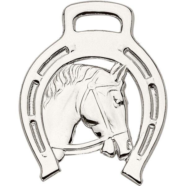 Sprenger Plakette mit Pferdekopf Gestanzt, Messing poliert- Rechts