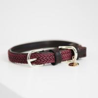 Kentucky Dogwear Geflochtenes Nylon Hundehalsband bordeaux