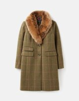 Joules Damen Tweed-Jacke Langley Long With Removable Fur...