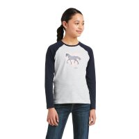 Ariat Youth Heart Of My Heart Ls T-Shirt H Gr/Nvy